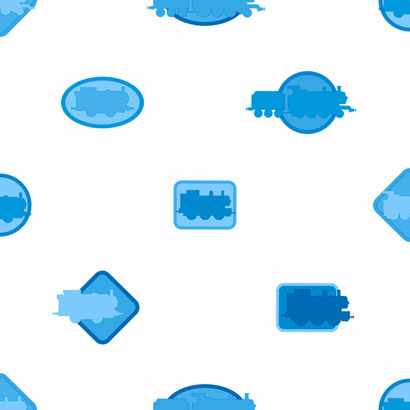 Thomas Icons Blue Wallpaper  - Wall Sticker Outlet
