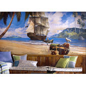Beach Pirate Ship Wall Mural