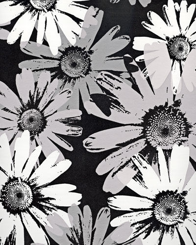 Wallpaper Stickers on Black And White Metallic Floral Wallpaper Sale   Wall Sticker Outlet