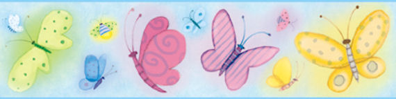 Blue Butterflies Wallpaper Border SALE - Wall Sticker Outlet