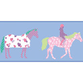 Blue Horse Wallpaper Border