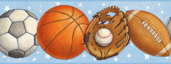 Blue Sports Balls Wallpaper Border