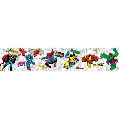 Marvel Comic Classic Heroes Prepasted Border White - Wall Sticker Outlet