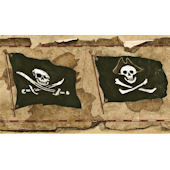 Brown Pirate Flag Worn Wallpaper Border