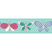 Blue Butterfly Wallpaper Border