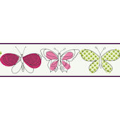 Raspberry Butterfly Wallpaper Border