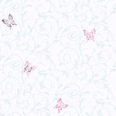 Candice Olson White Butterfly Scroll  Wallpaper