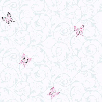 Candice Olson White Butterfly Scroll  Wallpaper - Kids Wall Decor Store