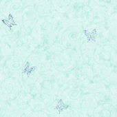 Candice Olson Aqua Butterfly Scroll  Wallpaper