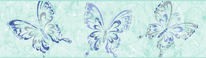 Candice Olson Blue Butterfly Scroll Border SALE - Wall Sticker Outlet