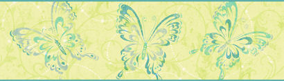 Candice Olson Lime Butterfly Scroll  Border - Kids Wall Decor Store
