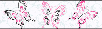 Candice Olson White Butterfly Scroll  Border SALE - Kids Wall Decor Store