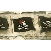 Cream Pirate Flag Worn Wallpaper Border