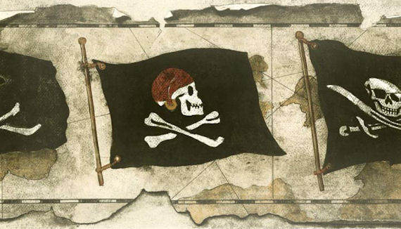 Cream Pirate Flag Worn Wallpaper Border - Kids Wall Decor Store