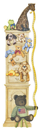 Cuddle Buddies Wallpaper Growth Chart - Wall Sticker Outlet