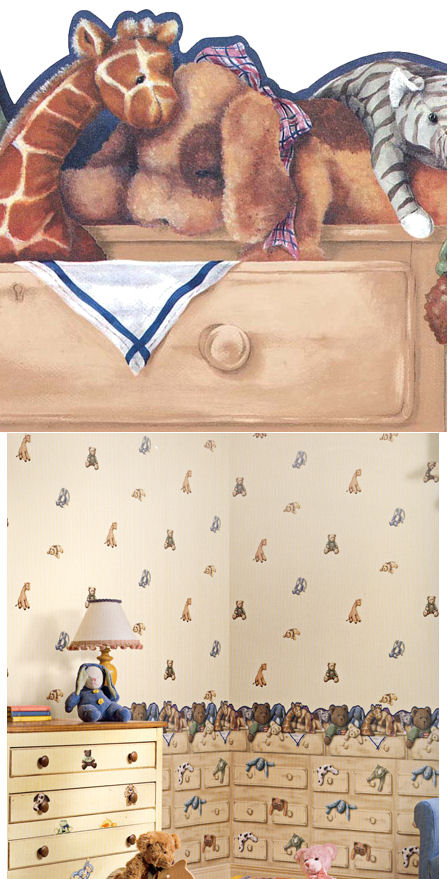 Cuddle Buddies Drawer Wallpaper Border - Wall Sticker Outlet