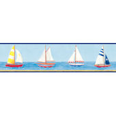 Dark Blue Sailboat Wallpaper Border SALE