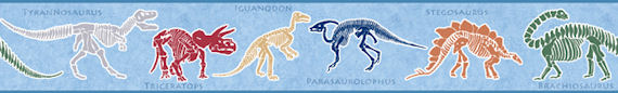 Dino Dig Blue Wall Paper Border - Kids Wall Decor Store