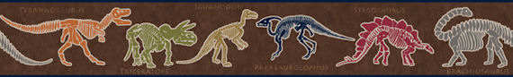Dino Dig Brown Wallpaper Border SALE - Wall Sticker Outlet