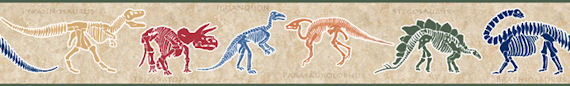 Dino Dig Tan Wall Paper Border - Kids Wall Decor Store