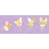 Fairy Garden Purple Wall Paper Border SALE