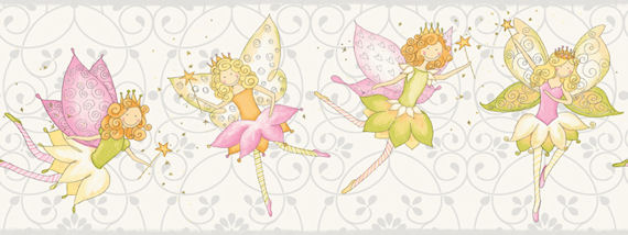 Fairy Garden White Wall Paper Border SALE