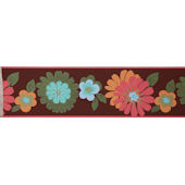 Floral Brown Wallpaper Border SALE