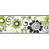 Green Floral Scroll Wallpaper Border