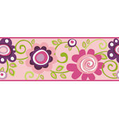 Pink Floral Scroll Wallpaper Border