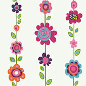 Bright Flower Stripe Wallpaper