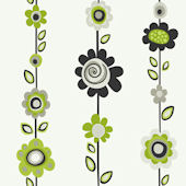 Green Flower Stripe Wallpaper