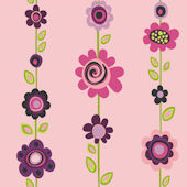Pink Flower Stripe Wallpaper