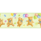 Green Bears and Balloons Wallpaper Border SALE