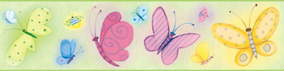Green Butterflies Wall Paper Border SALE - Wall Sticker Outlet