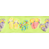 Green Flip Flop  Wall Paper Border