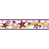 Purple Star Wallpaper Border