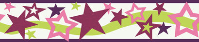 Green Star  Wall Paper Border - Kids Wall Decor Store