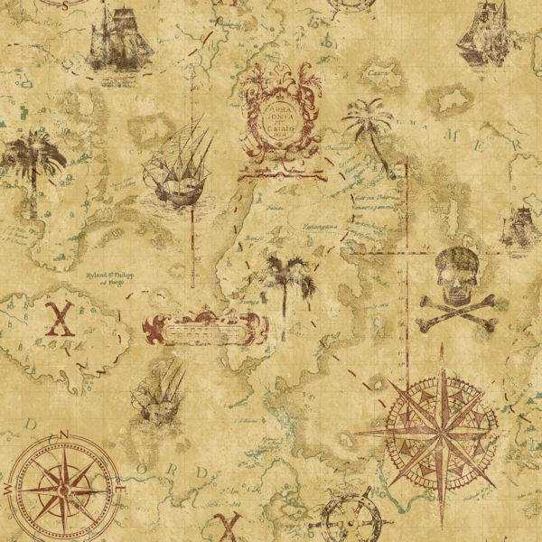Pirate treasure map tan wallpaper