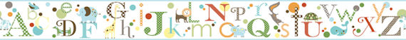Migi ABC Alphabet Blue Wall Paper Border - Kids Wall Decor Store