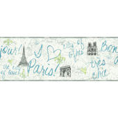 Blue Paris Wallpaper Border