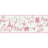 Pink Paris Wallpaper Border