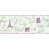 Purple Paris Wallpaper Border