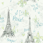 Green Paris Sidewall Wallpaper