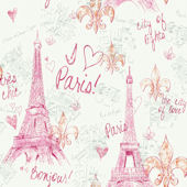 Pink Paris Sidewall Wallpaper