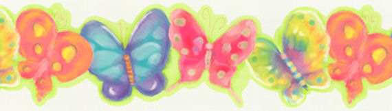 Pastel Butterfly   Wall Paper Border - Kids Wall Decor Store