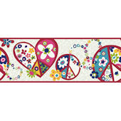 Bright Peace Sign Wallpaper Border