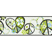 Green Peace Sign Wallpaper Border
