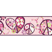 Pink Peace Sign Wallpaper Border