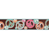 Peace Sign Glitter Brown Wall Paper Border