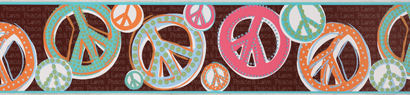 Peace Sign Glitter Brown Wall Paper Border - Kids Wall Decor Store